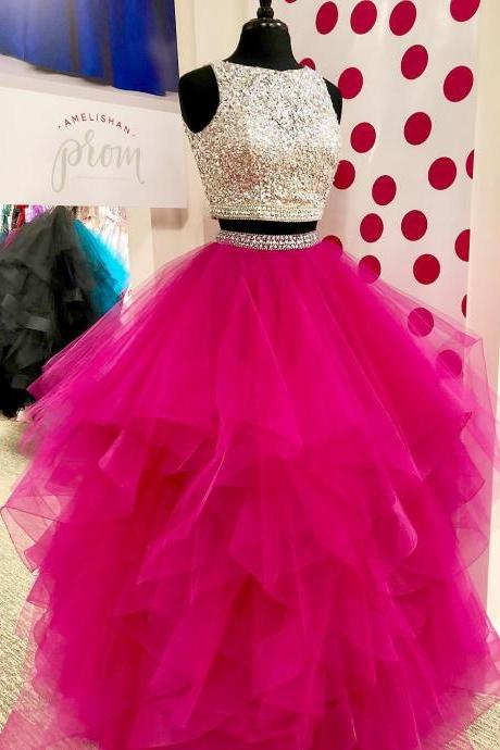 Sparkling Beaded Two Piece Quinceanera Dresses,Layered Pleated Organza 2018 Prom Dresses,Floor Length Prom Dresses