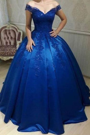 Dignified Floor Length Prom Dresses Ball Gown,Lace Appliqued Beaded Royal Blue Engagement Dresses Prom,Prom Dresses 2018