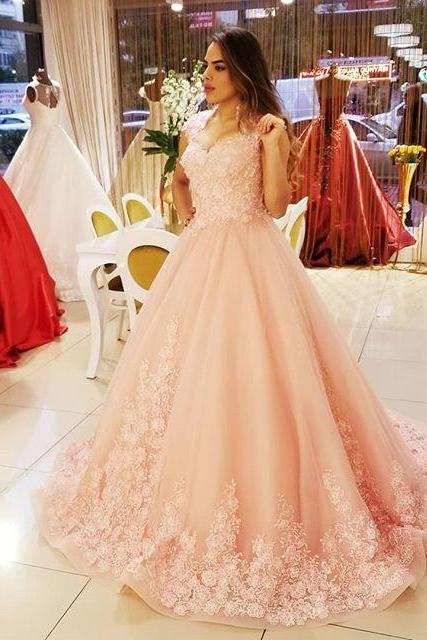 Dramatic Lace Flower Overlay Prom Dresses,Pink Organza Sweep Train Dresses for Prom 2018,Banquet Prom Dresses,Prom Dresses 2018