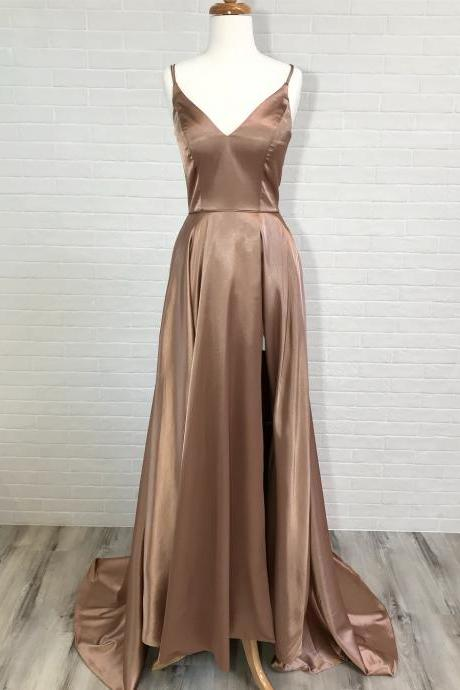 Long Bridesmaid Dresses with Spaghetti Straps,Champagne Gold Bridesmaid Dresses Silk Satin,Satin Prom Dresses with Sexy Side Slit
