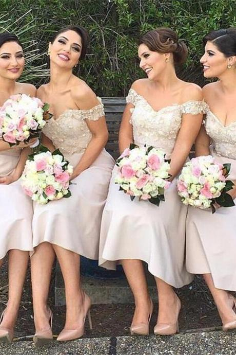 Flower Appliques Tea Length Bridesmaid Dresses,Off the Shoulder Bridesmaid Dresses,Bridesmaid Dresses with Sexy V Neckline,Nude Bridesmaid Dresses 2018