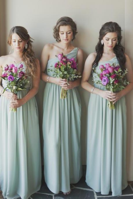 One Shoulder Mint Bridesmaid Dresses,Chiffon Bridesmaid Dresses,Long Bridesmaid Dresses,Pleated Bridesmaid Dresses,Floor Length Bridesmaid Dresses