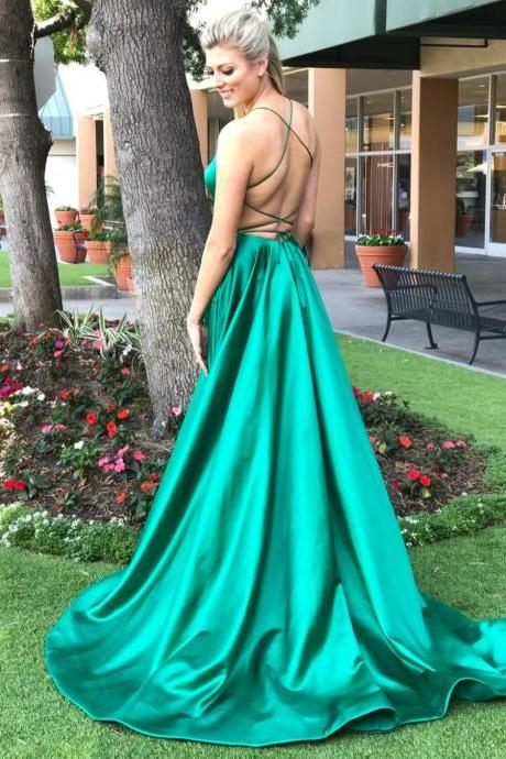 Back Open Sexy Prom Dresses,Long Prom Dresses,Satin Prom Dresses 2018