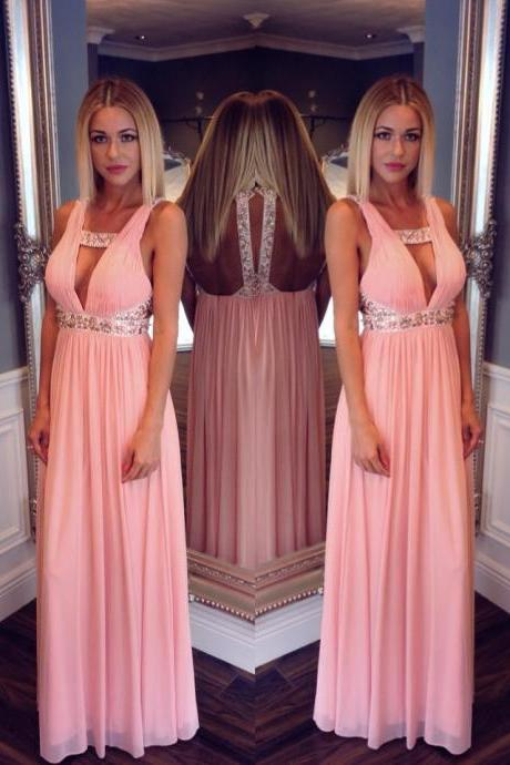 Sexy Chiffon Prom Dresses with Deep V Neckline,Empire Floor Length Prom Dresses,Back Open Party Gown,Peach Prom Dresses Long