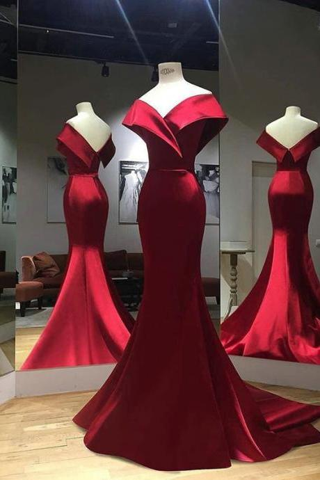 Elegant Mermaid Evening Dresses 2019,Off the Shoulder Red Formal Dresses,Satin Long Prom Dresses,Spring 2019 Prom Dresses Mermaid