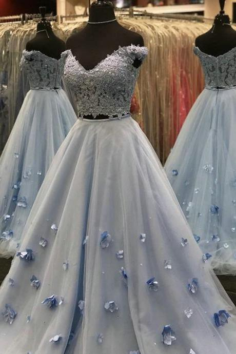 Lace and Tulle Two Piece Prom Dresses,Light Sky Blue Prom Dresses 2019,Off the Shoulder Spring 2019 Dresses for Prom