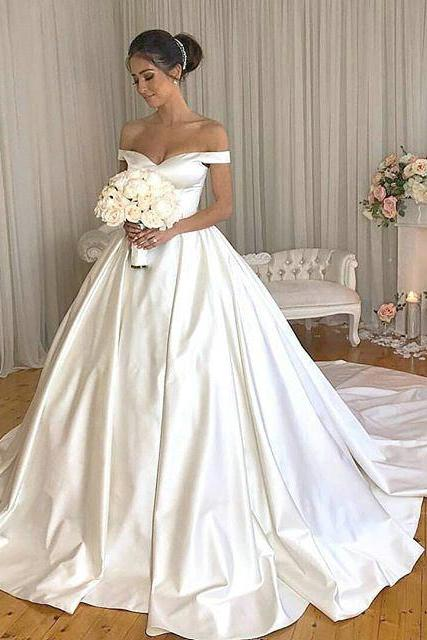 Elegant Satin Ballgowns Wedding Dresses 2019,Off the Shoulder Court Train Bridal Dresses,Button Wedding Dresses