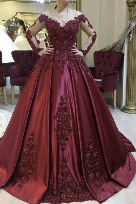 Burgundy Ball Gowns 2019,Court Train Satin Bridal Dresses,Long Sleeves Beaded Evening Gown 2019,Luxury Engagement Dresses