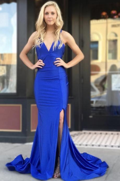 Royal Blue Mermaid Evening Dress 2019,New Arrival Mermaid Gowns,V Necklne Long Party Dresses