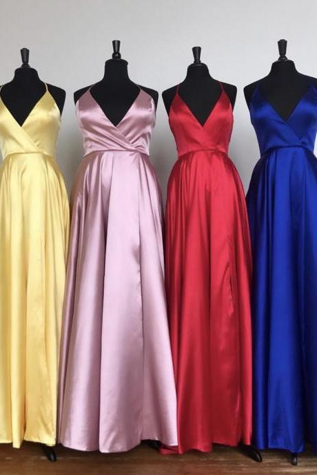 Yellow Silk Satin Prom Dresses 2019,V Neckline Prom Dresses Long,Royal Blue Evening Dresses
