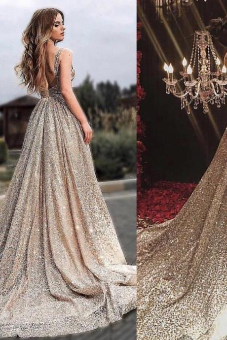 Bling Bling Sexy Champagne Gold Evening Dresses,Formal Dresses 2019,Low Back Evening Party Dresses