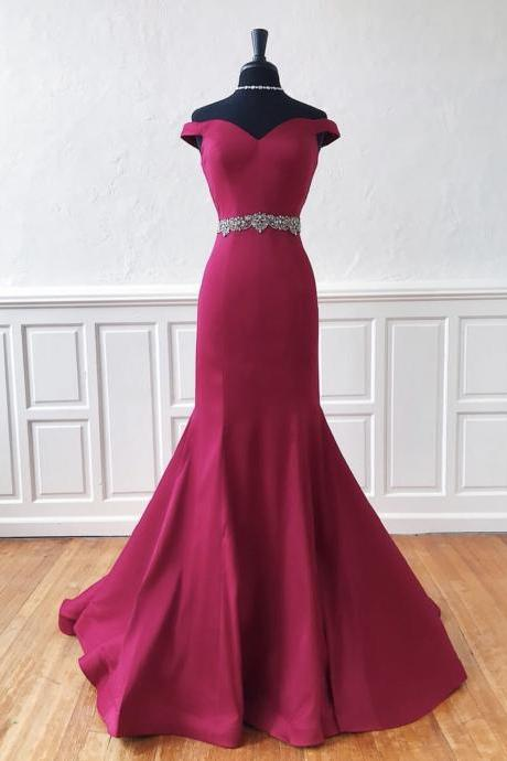Off the Shoulder Mermaid Evening Dresses,Lovely Belt Long Evening Dresses 2019,Free Shipping Evening Party Dresses
