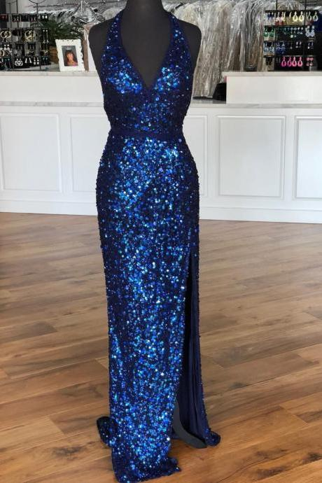 Shinning Sequins Backless Sexy Evening Dresses,Side Slit Halter Prom Dresses 2019,Beaded Belt A Line Prom Dresses