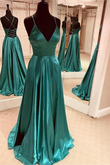 Emerald Green Cross Back Prom Dress,Sexy V Neckline Long Prom Dresses,Sweep Train Party Dresses 2019
