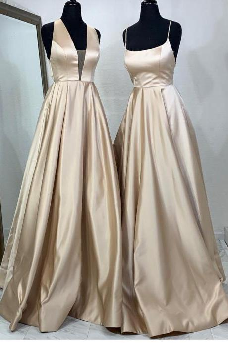 Halter Neck Prom Dresses 2019,Champagne Gold Evening Gowns,Cross Back Long Prom Dresses