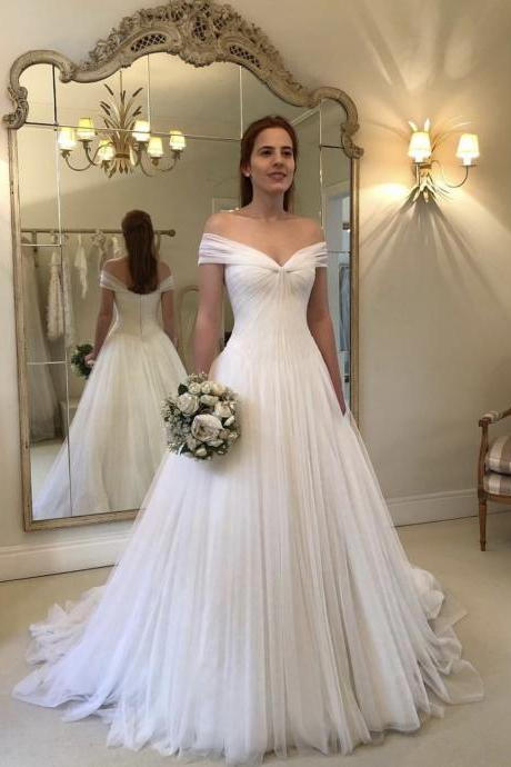 Princess Style Tulle White Bridal Dresses,A Line Beach Wedding Dresses 2019,Simple Pleated Outdoor Bridal Dresses