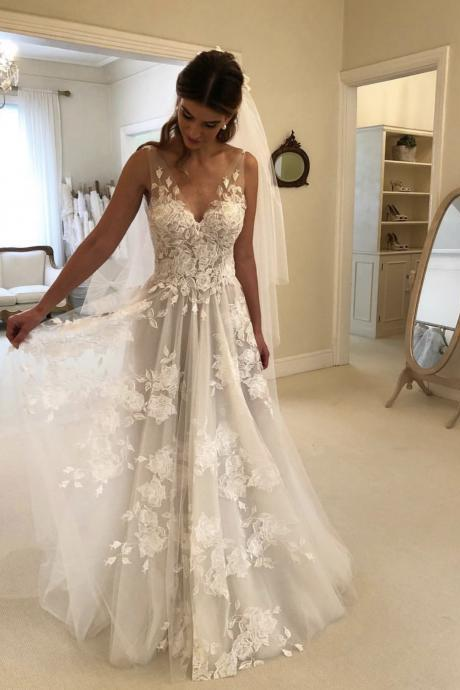 Embrodery Lace V Back Wedding Dresses,A Line Pleated Beach Wedding Dresses,Sheer Tulle Bridal Dresses 2019