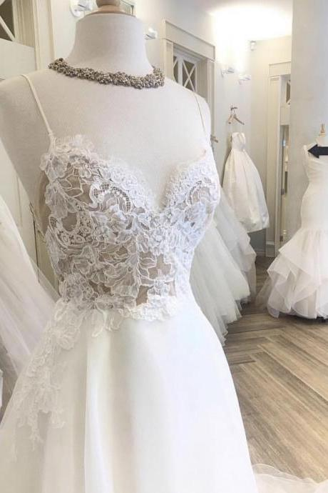 Spaghetti Straps Lace Bridal Dresses 2019,A Line Beach Wedding Dresses,Soft Chiffon Bridal Dresses