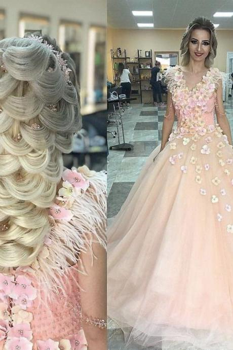 Pink Flowers Appliqued Ball Gown Engagement Prom Dresses 2019,Bridal Dresses 2019