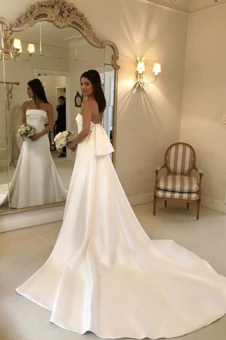 Strapless Elegant Satin Bridal Dresses 2019,Detachable Train White A Line Wedding Dresses,Satin Wedding Dresses