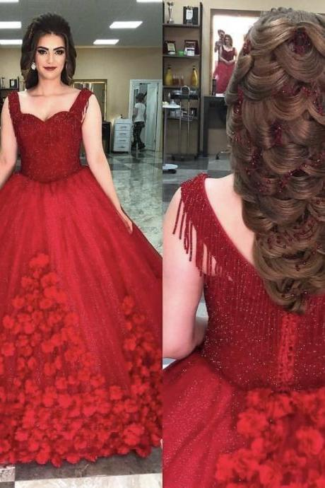 Beading Tassels Ball Gown Red Bridal Dresses,Flowers Appliqued Shinning Engagement Prom Dresses