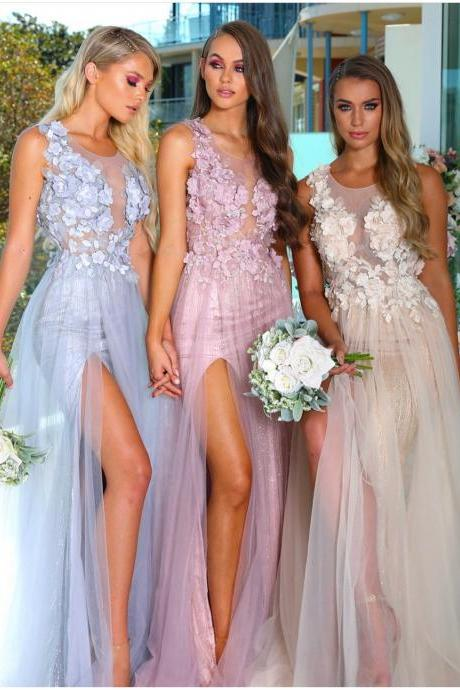 Sheer Tulle Flower Appliqued Bridesmaid Dresses 2019,Sequined Long Bridesmaid Dresses,New Arrival Sleeveless Bridesmaid Dresses