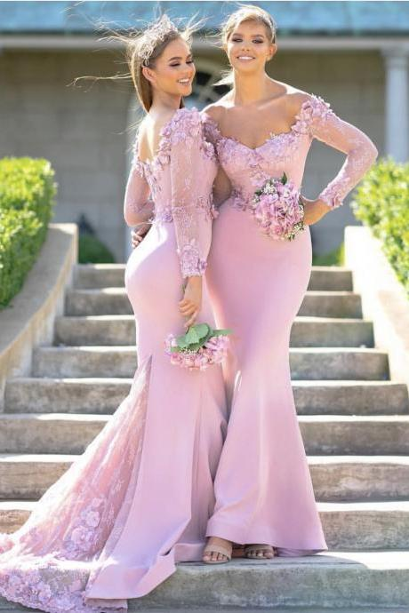 Lace Long Sleeves Round Neck Mermaid Bridesmaid Dresses,Long Bridesmaid Dresses 2019,Lace Bridesmaid Dresses,Appliqued Dresses for Bridesmaid