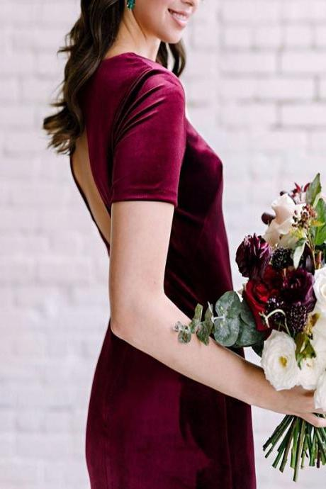 Keyhole Back Burgundy Velvet Bridesmaid Dresses,Long Bridesmaid Dresses,Short Sleeves Bridesmaid Dresses 2020