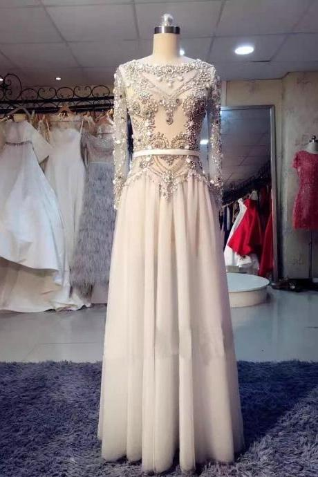 Long Sleeves Floor Length Chiffon Prom Dresses Embellished with Crystal,new arrival prom party dresses 2017
