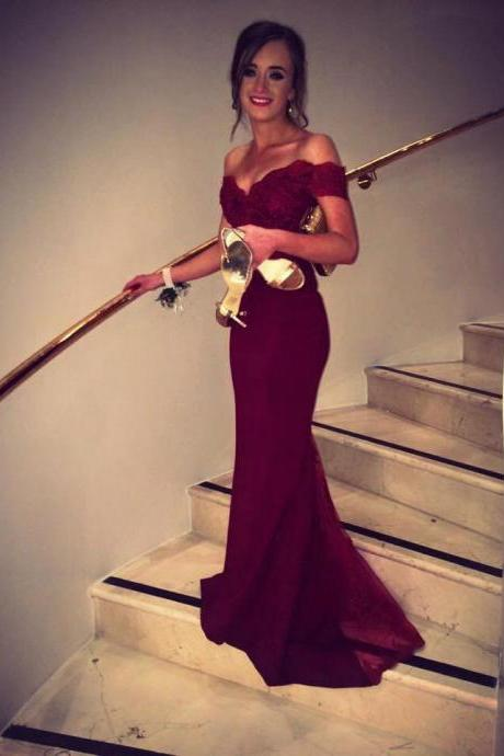 Burgundy Prom Dress 2016,Pretty Off Shoulder Chiffon Burgundy Dress with Lace,Formal Dresses,Elegant Evening Gowns,Prom Gown