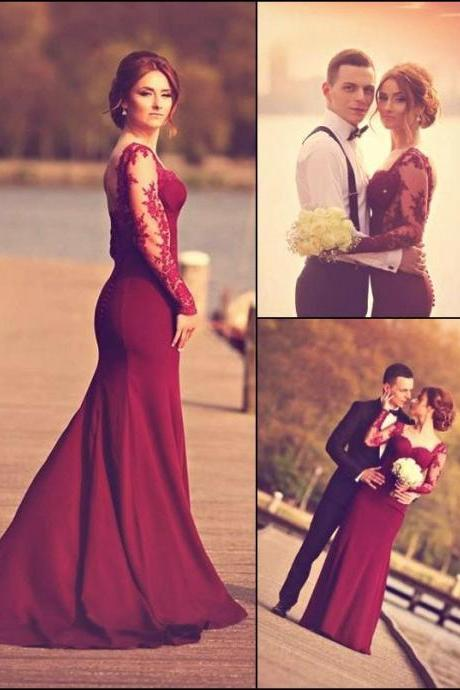 Lace Appliqued Formal Dresses,Long Sleeves Burgundy Prom Dresses,Elegant Party Dresses,Prom Dresses 2016