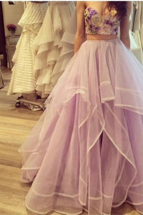 Two Piece Prom Dresses,Lavender Tulle Prom Dress,Prom Dress Long,Tulle Party Dress,A Line Prom Party Gown