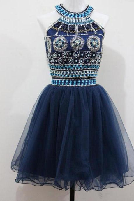Two Piece Homecoming Dresses,Crystal Beaded Sequined Short Prom Dress,Gorgeous O-neck Party Dress Short