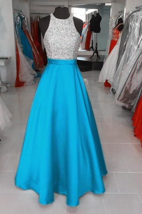 Turquoise Blue Prom Dresses,Long Evening Dresses,Shinning Beading Evening Prom Gown,Satin Prom Gowns
