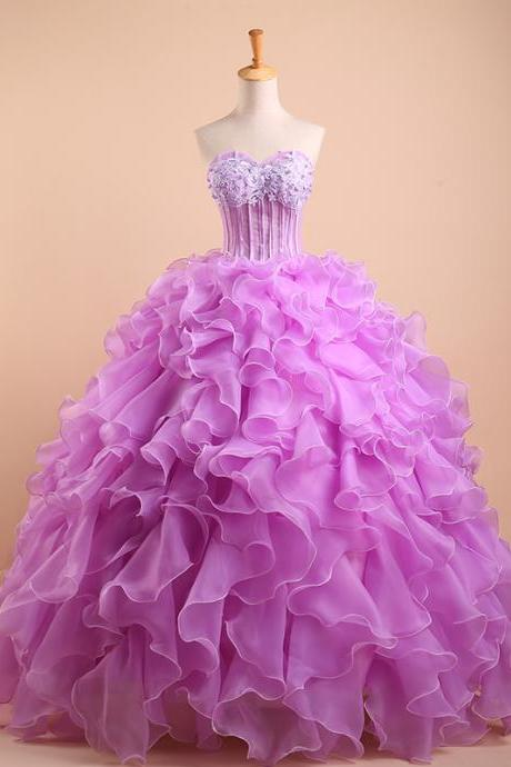 Real Made Quinceanera Dress,Purple Quinceanera Dresses,Sweetheart Beaded Tulle Puffy Ball Gown Prom,2017 New Arrivals Sweet 16 Dresses