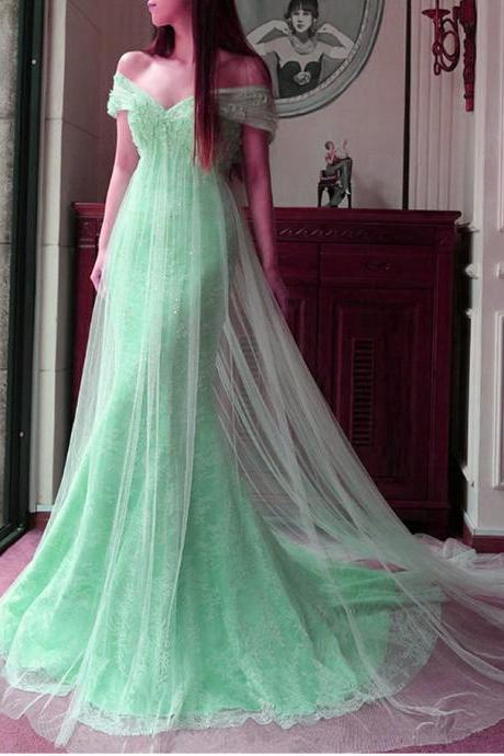 Evening Dress 2017,Mint Lace Tulle Off the Shoulder Long Evening Dresses,Princess Mermaid Prom Dresses,Gorgeous Party Dress 2017