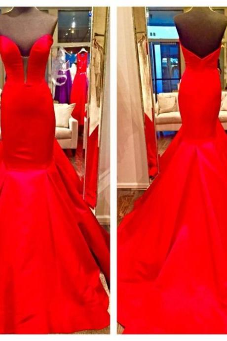 Red Prom Dresses,Sweetheart Long Satin Mermaid Evening Dresses 2016 Real Photos Red Evening Pageant Gowns