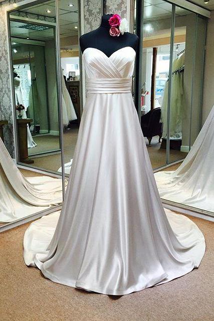 Bridal Dresses,Sweetheart Empire Pleated Satin Wedding Dresses 2017,Real Made Simple Elegant Bridal Dresses