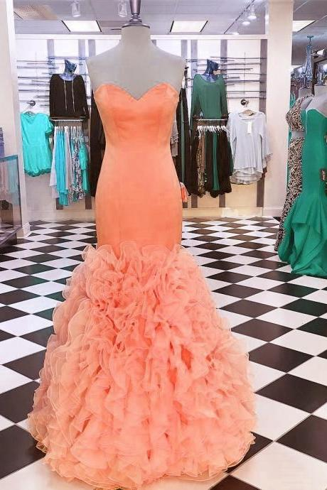 Prom Party Dresses,Romantic Organza Ruffles Satin Sheath Prom Dresses 2017,Orange Sweetheart New Party Gowns