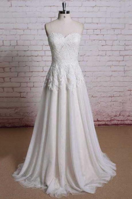 Custom Made White Sweet Heart Neckline Lace and Chiffon A-Line Wedding Dress, Prom Dresses, Evening Wear