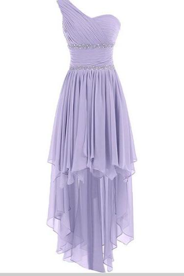 Lavender High Low Bridesmaid Dresses,Chiffon Pleated Evening Prom Dress featuring Ruched One Shoulder Bodice with Beaded Embellishments