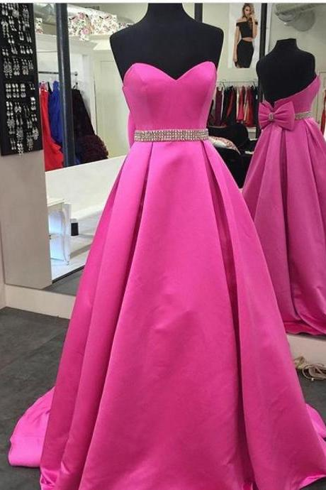 Vintage Fuchsia Prom Dresses 2017,Formal Dresses Long,Satin A Line Party Dress,Gorgeous Beading Communicate Dresses,