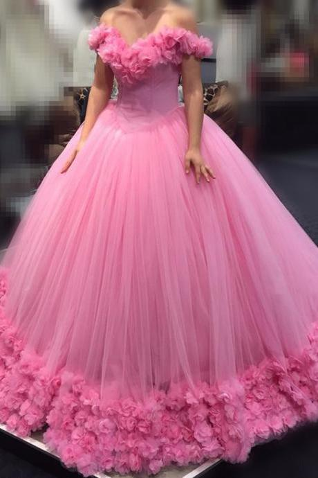 Floral Pink Wedding Dresses,Ball Gown 3D Flower Off the Shoulder Princess Style Quinceanera Dresses 2016,Blue Ball Gown Sweet 16 Dresses Embllished with Flowers,Luxury Pink Prom Dresses