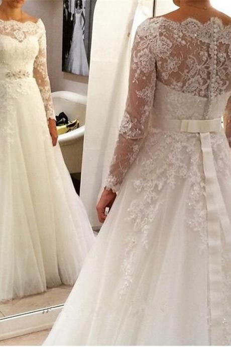 Long Sleeve Lace Wedding Dresses,Empire Pregnant Wedding Dresses Lace,A Line White Bridl Dresses