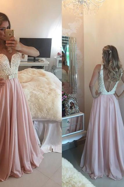 White Pearls Pink Chiffon A Line Prom Dresses with Bow,Beautiful Dresses for Party,Sexy Prom Dresses,Evening Party Dresses,Vestido Longo
