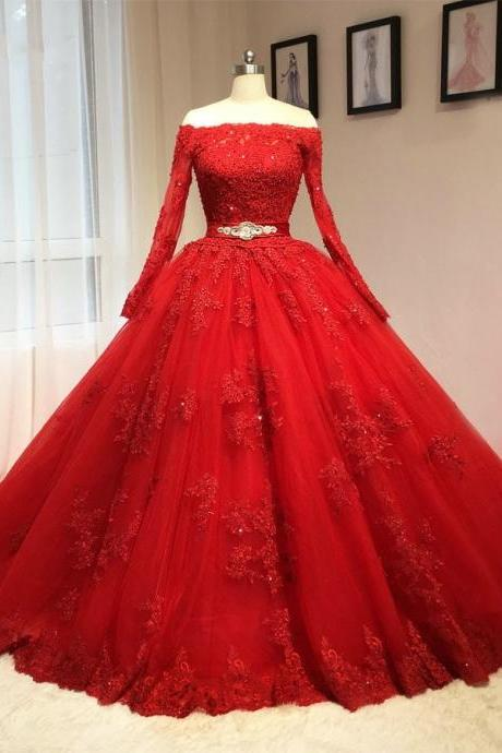 Wedding Dresses,Red Wedding Dresses,Long Sleeves Wedding Dresses,Lace Appliques Ball Gown Wedding Dresses 2017,Real Images Bridal Dresses
