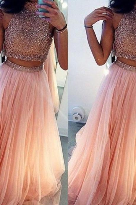 High Neck Pink Tulle Crystal Two Piece Prom Dresses,Prom Dresses Long,Soft Tulle Prom Dresses,Dresses for Prom,Long Crystal Graduation Dresses