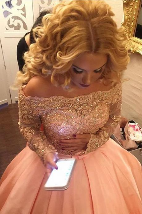 Boat Neck Long Sleeves Ball Gowns,Lace Sleeves Prom Dresses 2017,Pink Satin Wedding Dresses with Belt,Bridal Dresses 2017