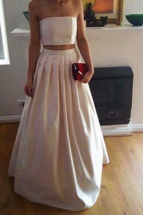 Chic Two Piece Ivory Satin Party Dresses,Two Piece Prom Dresses 2017,Pleated Formal Dresses,Formal Gowns,Party Dresses 2017