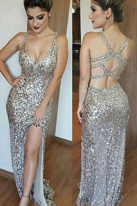 Cross Back Side Slit Sexy Sequin Prom Dresses,Party Dresses 2017,Evening Party Gown,Gold Sequin A Line Prom Dresses,Prom Dresses 2017